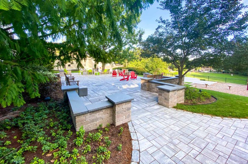 An exterior patio on the DCDS campus.