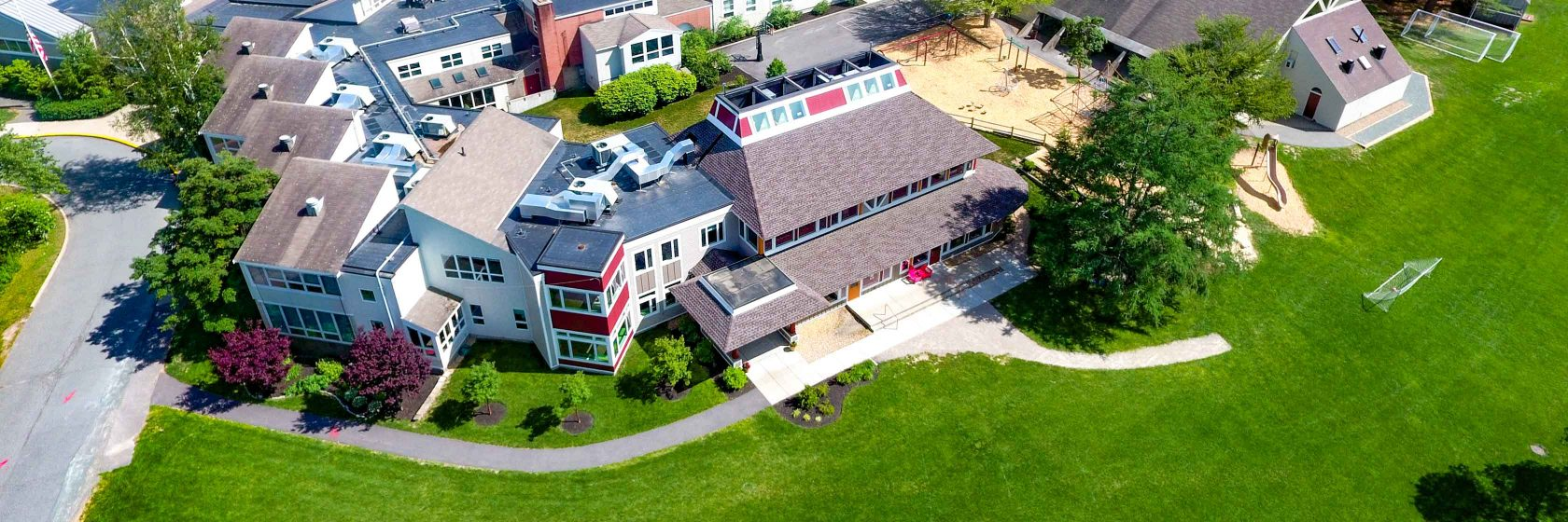 An aerial view of the Dedham Country Day School campus.