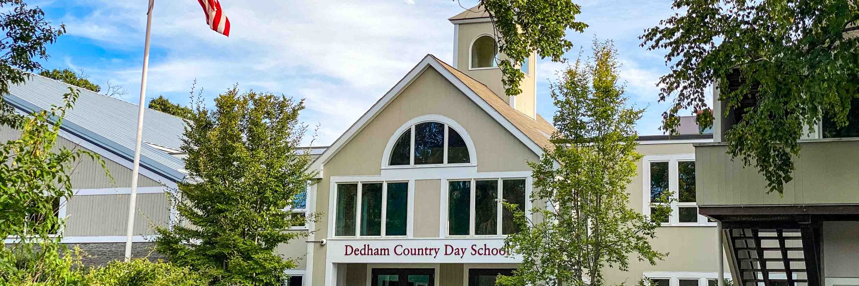 An exterior view of the main building on Dedham Country Day School campus.