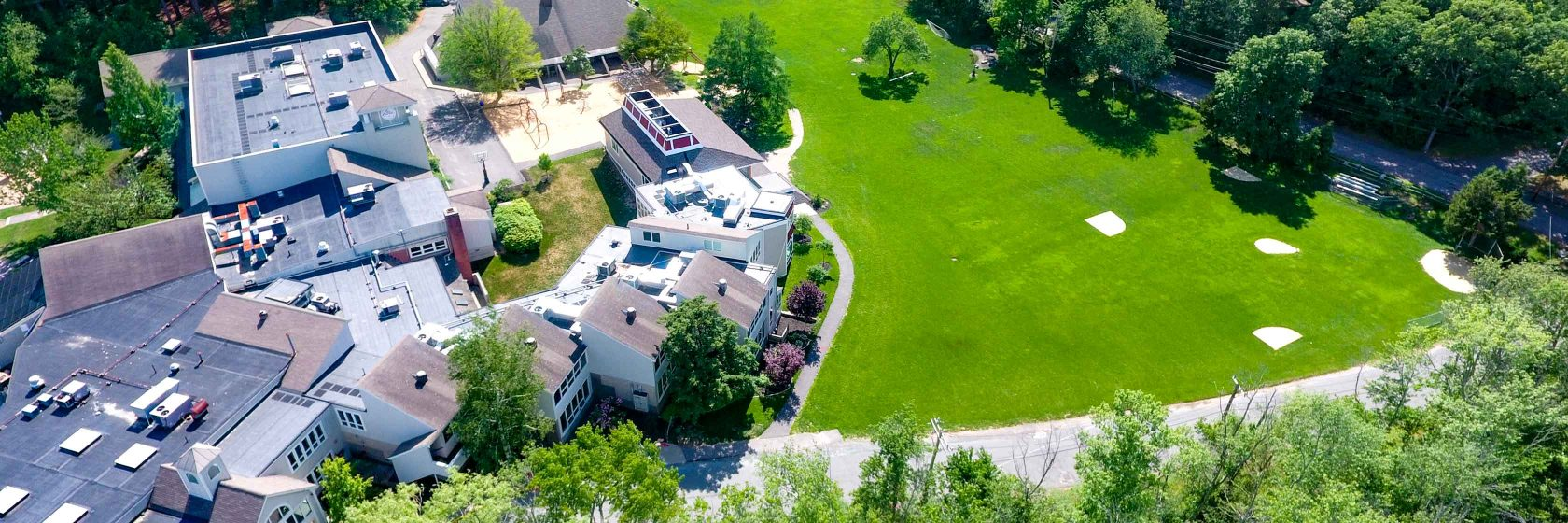 An aerial view of Dedham Country Day School.