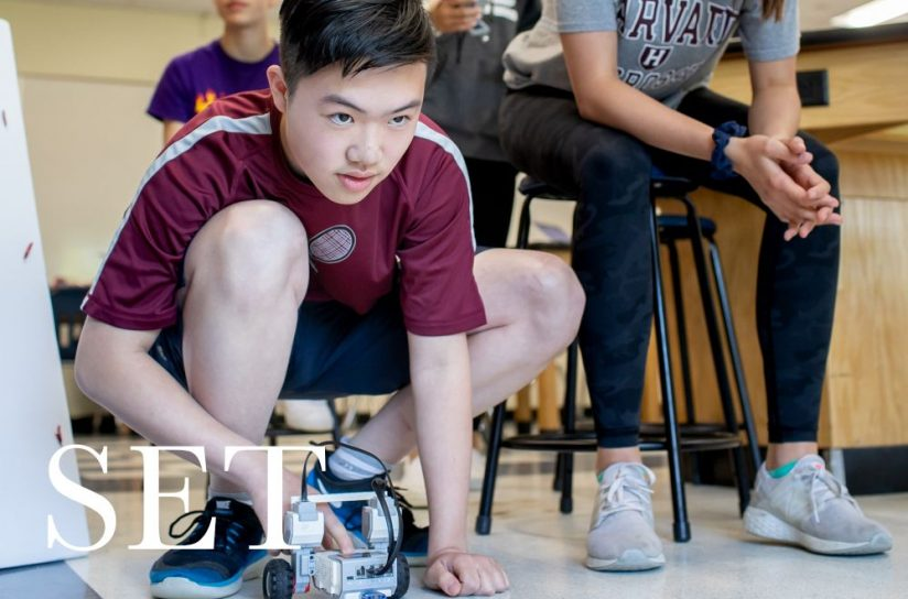 A student using a robotic car.