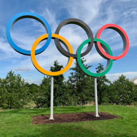 The olympic rings as a large statue.