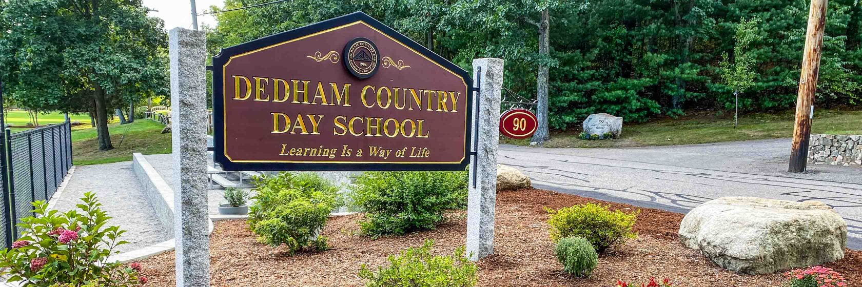 The front sign of Dedham Country Day School.