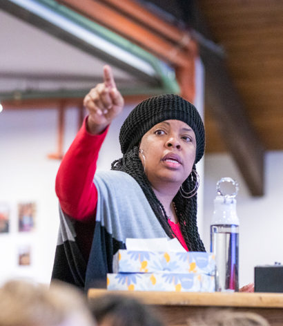 A faculty member giving a presentation