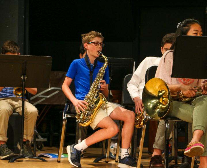 A student playing the saxophone