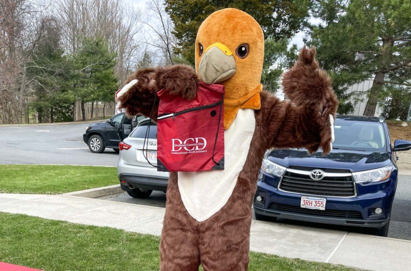 The DCD hawk at an admissions event